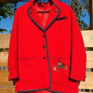 🍄Vintage red cottagecore Mushroom blazer